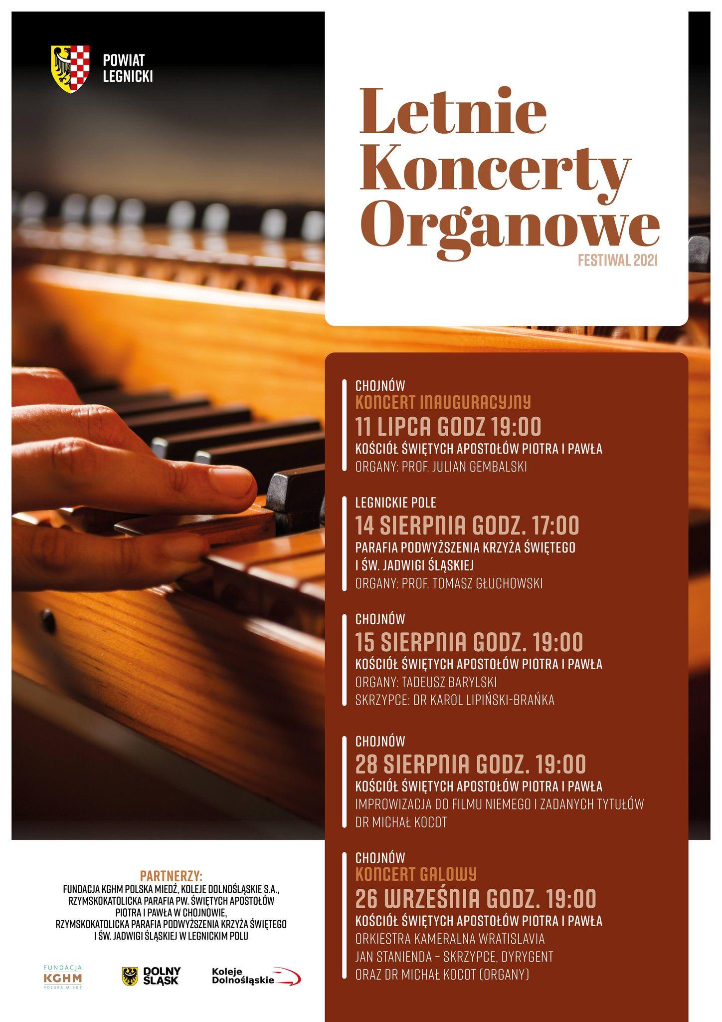 Plakat: Letnie Koncerty Organowe - Festiwal 2021
