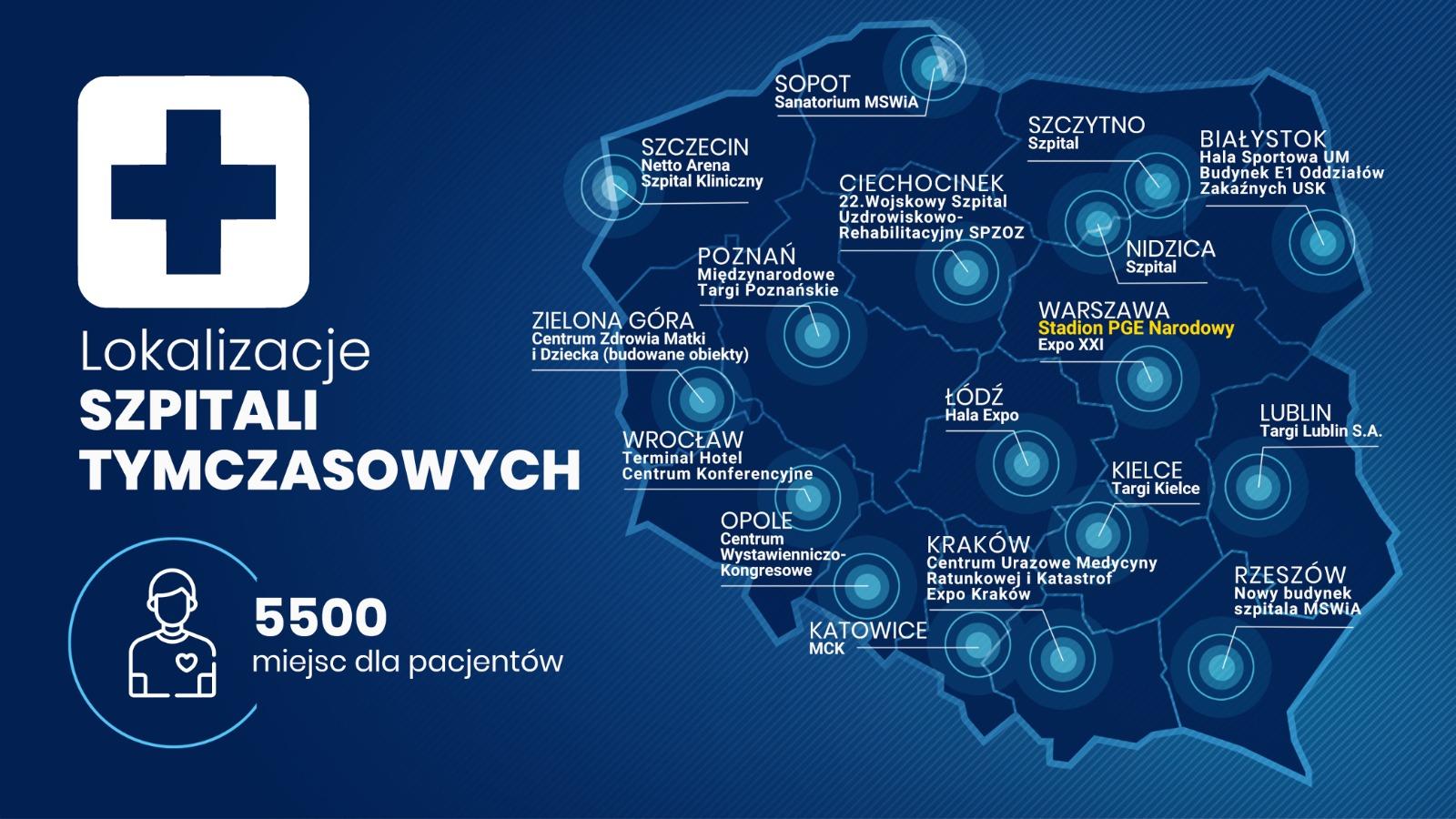 Mapa szpitali tymczasowych (Wrocław: Terminal Hotel Centrum Konferencyjne)
