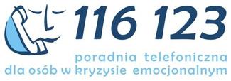 Logo: 116 123 – Telefon Zaufania dla Osób    Dorosłych w Kryzysie Emocjonalnym